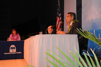 "HPR News Director Kayla Rosenfeld, U.S. Congressman Neil Abercrombie, Lt. Governor James ""Duke"" Aiona"